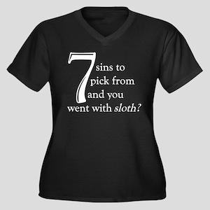 The Lamest Sin Women's Plus Size V-Neck Dark T-Shi