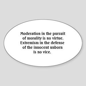 Moderation/Extremism Oval Sticker