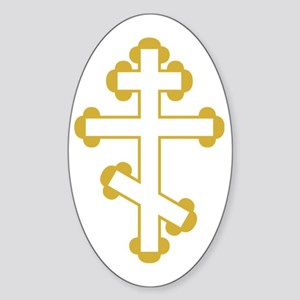 Orthodox Plain Cross Oval Sticker