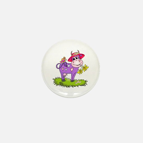 Purple Cow Red Hat Mini Button