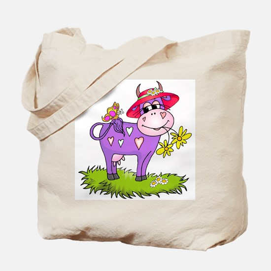Purple Cow Red Hat Tote Bag