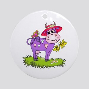 Purple Cow Red Hat Ornament (Round)
