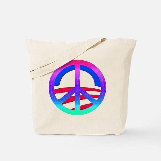 Obama Peace Logo: Tote Bag