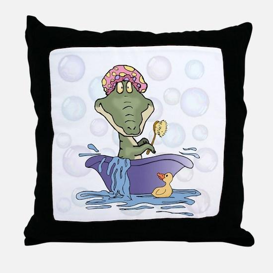 Crazy Gator Bathtime Throw Pillow