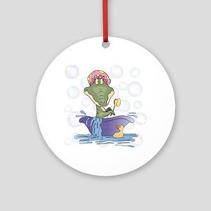 Crazy Gator Bathtime Ornament (Round)