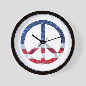 Patriotic Peace Sign: Wall Clock