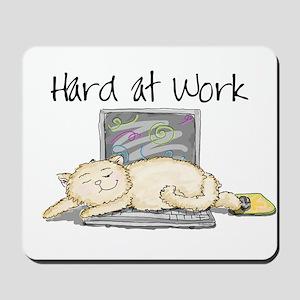 Kitty Hard at Work Mousepad