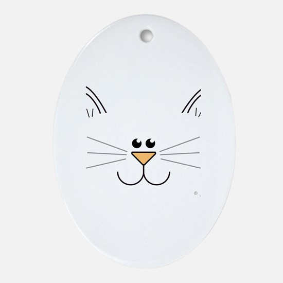 Cute Kitty Face Oval Ornament