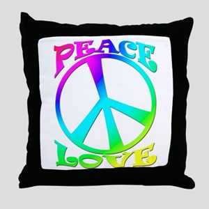 psychedelic peace sign Throw Pillow