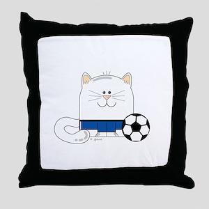 Soccer Kitty Throw Pillow