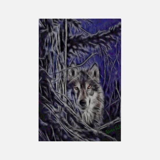 Night Warrior Wolf Rectangle Magnet