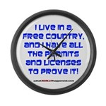 Licenses and Permits Large Wall Clock