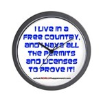 Licenses and Permits Wall Clock