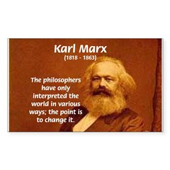Power of Change Karl Marx Rectangle Decal