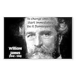 William James Life and Change Sticker (Rectangular