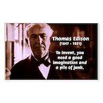 Imagination Thomas Edison Rectangle Sticker