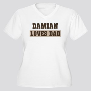 Damian loves dad Women's Plus Size V-Neck T-Shirt