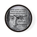 Playwright William Shakespeare Wall Clock