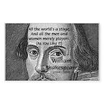Playwright William Shakespeare Sticker (Rectangula