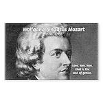 Music, Genius and Mozart Rectangle Sticker