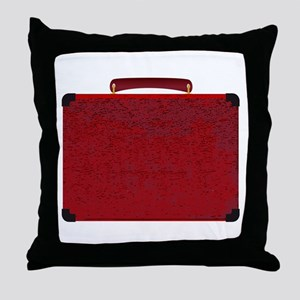 Red Small Suitcase On A White Backgro Throw Pillow