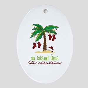 On Island Time Oval Ornament