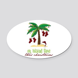 On Island Time Oval Car Magnet