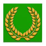 Green with Gold Laurel Tile Coaster
