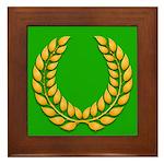 Green with Gold Laurel Framed Tile