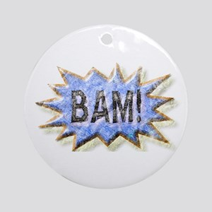 BAM! Distressed look Emeril Ornament (Round)