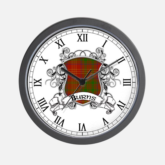 Burns Tartan Shield Wall Clock