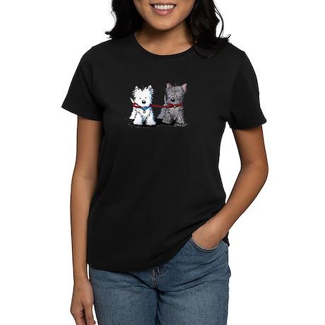 Walking Buddy Terriers Women's Dark T-Shirt