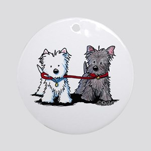 Walking Buddy Terriers Ornament (Round)