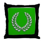 Green with Silver Laurel Throw Pillow