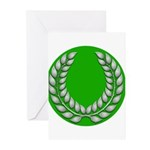 Green with Silver Laurel Greeting Cards (Package o