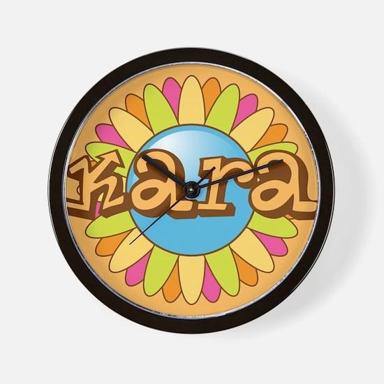 Kara Girl's Name Bright Flower Wall Clock