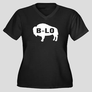 B-LO Women's Plus Size V-Neck Dark T-Shirt