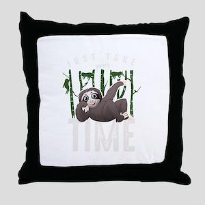 Just Take Your Time Funny Sleepy Slot Throw Pillow