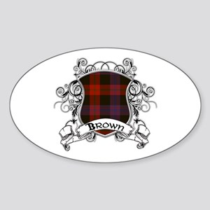 Brown Tartan Shield Sticker (Oval)