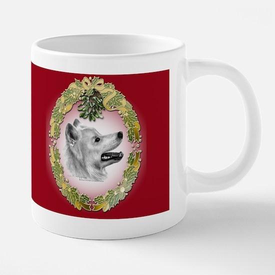 samoyed_wreath_mug.jpg 20 oz Ceramic Mega Mug
