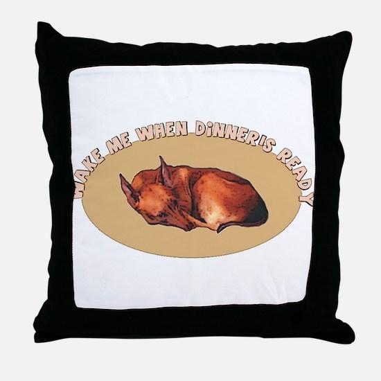sleeping pharaoh hound Throw Pillow