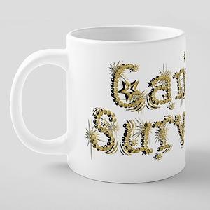 Gold Star Cancer Survivor 20 oz Ceramic Mega Mug