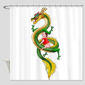 Dragon Pig Shower Curtain