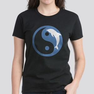 Blue Dolphin Yin Yang Women's Dark T-Shirt