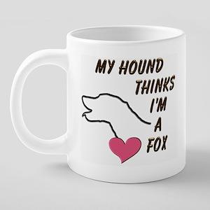 FoxHoundPinkHeartMug.png 20 oz Ceramic Mega Mug
