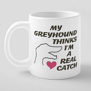 GreyHoundPinkHeartMug 20 oz Ceramic Mega Mug