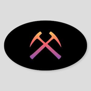Sunset Crossed Rock Hammers Oval Sticker