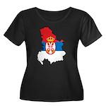 Map Of Serbia Women's Plus Size Scoop Neck Dark T-