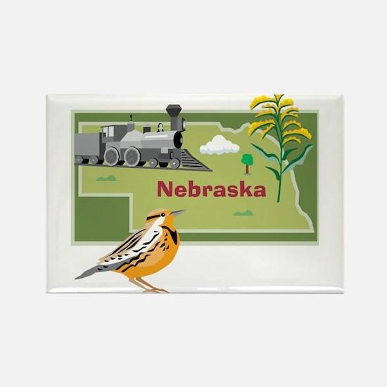 Nebraska Map Rectangle Magnet