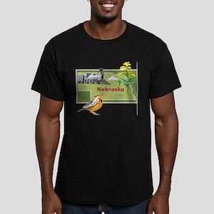 Nebraska Map Men's Fitted T-Shirt (dark)